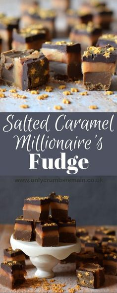 This indulgent Salted Caramel Millionaire's Fudge is inspired by the popular traybake Millionaire's Shortbread. A layer of dark fudge replaces the shortbread. The confectionery is finished with a sprinkling of edible gold glitter and gold stars. Rocky Road Fudge, Köstliche Desserts, Delicious Desserts, Dessert Recipes, Coffee Fudge Recipes, Dark Chocolate Fudge Recipe, Chocolate Gold, Awesome Desserts, Cupcake Recipes