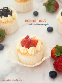 Angel Food Cupcakes with Fresh Berry Compote are heavenly homemade angel food cupcakes topped with whipped cream frosting and fresh berry compote.