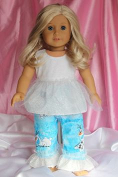 American-Made-Doll-Clothes-for-18inch-Girl-Doll-Frozen-Inspired-Olaf-Pajamas