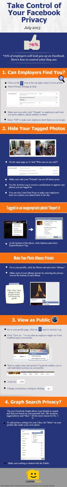 Take the control of your FaceBook privacy #infografia #infographic #socialmedia