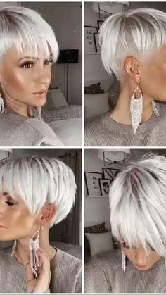 Short Silver Hair, Short White Hair, Short Choppy Hair, Short Hair With Layers, Short Hair Trends, Short Hair Styles Easy, Cute Hairstyles For Short Hair, Blonde Pixie Hairstyles, Wedge Hairstyles