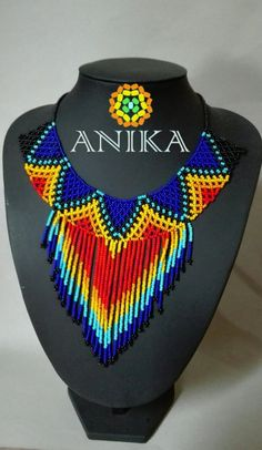 Gorgeous handicraft necklace by embera natives from Colombia.