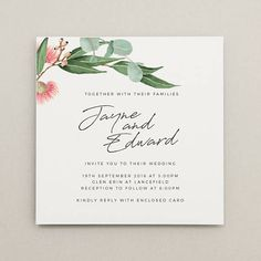 The Native wedding invitation includes a simple watercolour design featuring Australian native florals and greenery. The text is shown here in black ink, however the text can be customised with any colour. Print Your Own Invitations, Funny Wedding Invitations, Save The Date Invitations, Invitation Envelopes, Wedding Invitation Design, Wedding Stationary, Invites, Protea Wedding, Wedding Humor