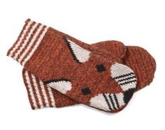 Fox Knit Mittens - Recycled Cotton