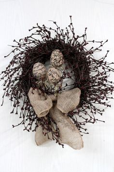 Easter Door Wreath, Burlap Wreath, Burgundy Pip Berries, Burlap Easter Eggs, Primitive Country Decor -- FREE SHIPPING. $75.00, via Etsy.