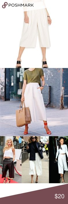 """NWT White Fresh Gaucho pants S $70 Cute, modern style pearl culottes pants designed in a perforated texture. High rise, wide leg. Size XS Bar III Pants. So fresh looking and trending. Waist is 12.5"""" across, has pockets! Front zip, back Faux pockets, 29"""" length. Bar III Pants Ankle & Cropped"""