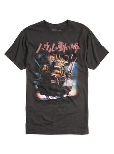 5d06db1c Faded black tee from Studio Ghibli's Howl's Moving Castle with a large  legged, walking castle design on front. dry low Imported Listed in men's  sizes