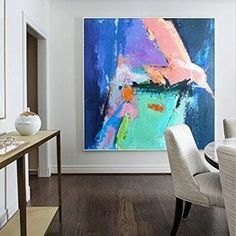 Bird Painting Colorful Wall Painting Large Wall Art Abstract Canvas Painting Abstract Simple Painting Canvas With Texture Dine Room Wall Art Turquoise Painting, Pink Painting, Blue Abstract Painting, Abstract Canvas, Abstract Paintings, Art Paintings, Pink Turquoise, Extra Large Wall Art, Large Art