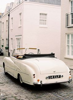 White, vintage convertible Bentley