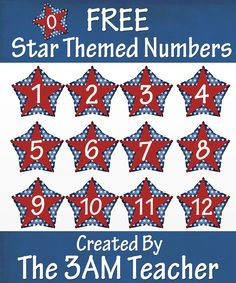 FREE 4th of July Themed Numbered Stars by The 3AM Teacher!!!