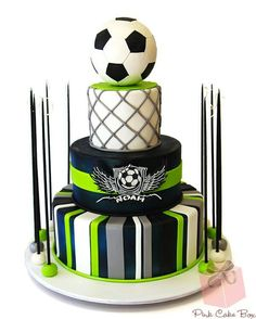 Soccer Cake by Pink Cake Box in Denville, NJ. Sports Themed Cakes, Soccer Birthday Parties, Birthday Desserts, Soccer Party, 50th Birthday, Birthday Cake, Pink Cake Box, Soccer Theme, Soccer Banquet
