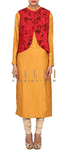 Buy Online from the link below. We ship worldwide (Free Shipping over US$100) Price-$369 Click Anywhere to Tag http://www.kalkifashion.com/mustard-kurti-matched-with-embroidered-jacket-only-on-kalki.html