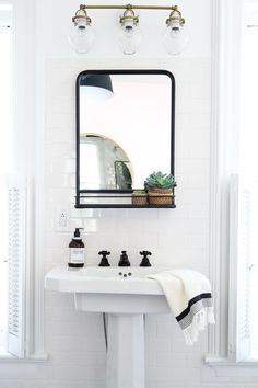 Bathrooms pedestal sink, iron mirror with shelf, light walls Save Money While You Survive the Heat S Serene Bathroom, Beautiful Bathrooms, Modern Bathroom, Bathroom Ideas, White Bathrooms, Vanity Bathroom, Vanity Mirrors, Bathroom Designs, Pedastal Sink Bathroom