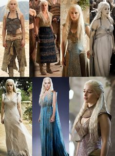 A few of Daenerys' costumes. One of my favourites is the second one. The colour combination and fabrics are just mesmerizing as well as surprising every time.