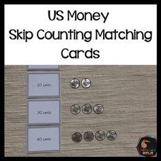 US Money Skip Counting Matching Cards - montessorikiwi Money Activities, Calendar Activities, Counting Activities, Language Activities, Montessori Elementary, Montessori Materials, Montessori Activities, Elementary Math, Math Stations