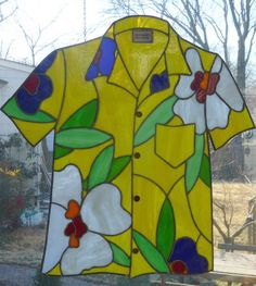Stained Glass Tropical Panel by pbandjshirts - This makes me smile!  With a flipflop panel and a tropical drink panel would be perfect!