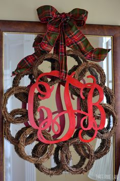 small wreaths connected together as one large wreath. Made one similar but without monogram. an angel, bells in center Post other ideas here!