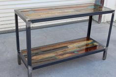 Bora Bora, Minwax Colors, Custom Consoles, Steel Shelving, Clear Epoxy Resin, Into The Woods, Serving Table, Wood Vinyl, Wood Pallets