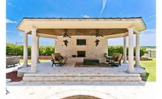 This well thought cabana at the end of the pool and spa provide a relaxing place to return to your summer read.
