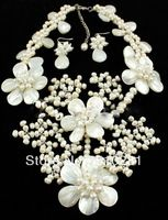 SSea-shell, freshwater pearl(natural), good quality pearl neckalce + earring