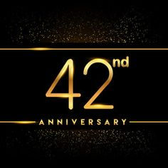 Celebrating of 42 years anniversary, logotype golden colored isolated on black background and confetti, vector design for greeting card and invitation card