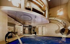 There is a slide from your bedroom to the pool!! A kid must have come up with this idea! love it!!
