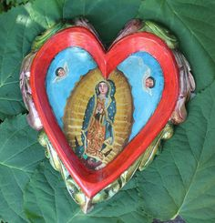 Hand Carved & Painted Red Heart & Our Lady Guadalupe Patzcuaro Mexican Folk Art