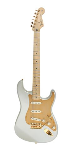 Fender Strat mod. Artic white colour, gold anodized pickguard, gold hardware and maple neck.