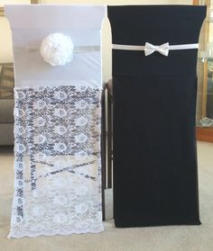 Bride and Groom Chair Covers by DinnerPartyDecor on Etsy weddingtablethemes Wedding Table Linens, Wedding Chairs, Banquet Chair Covers, Party Chairs, Cheap Wedding Decorations, Wedding Favors For Guests, Blue Wedding Dresses, Bridal Musings, Groom