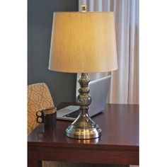 For Sofa Table: Graphite Battery Operated Cordless Table Lamp