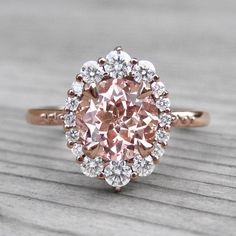 9e304c287 Champagne peach sapphire vintage halo ring + conflict-free diamonds in rose  gold Peach Saphire