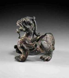 A GILT-BRONZE CHIMERA- Eastern Han Dynasty (25-220 AD)