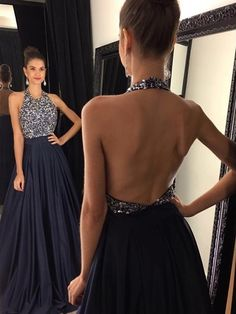 Cheap prom dresses Buy Quality prom dresses directly from China blue long prom dresses Suppliers: Dark Navy Blue Long Prom Dresses 2017 Halter Sexy Backless Beaded Sparkly Formal Satin Prom Dress Gowns Cheap Custom Made Dark Blue Prom Dresses, Halter Prom Dresses Long, Prom Dresses 2016, Beaded Prom Dress, A Line Prom Dresses, Sexy Dresses, Dress Prom, Party Dresses, Prom Gowns