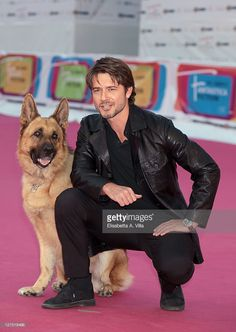 Actor Ettore Bassi and Rex attend the 'Il Commissario Rex 4' Premiere during the 2011 Rome Fiction Fest at Auditorium Parco Della Musica on September 28, 2011 in Rome, Italy.