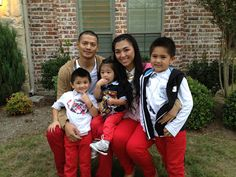 Red Pants wearing family
