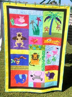 Pictures of Baby Quilts for Boys: Funky Jungle Animals Baby Quilt