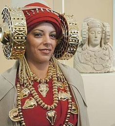 Lady of Elche in Lliria, 4th century BCE, and reconstruction of costume, headdress and jewelry
