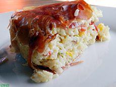 Gâteau de riz lardé aux poivrons