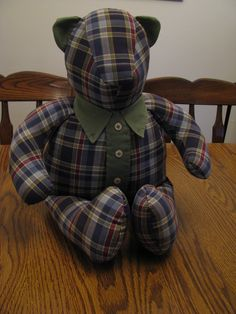 Memory Bears- teddy bears made from family members' old shirts. More info at the link: https://stlouis.craigslist.org/art/5001020734.html