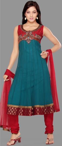 #Blue Readymade Net #Churidar Kameez @ $89.03