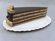 """""""Seven Layer Chocolate Torte With Buttercream Rosettes"""". 100% recycled cardboard. Sold."""