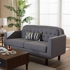 Baxton Studio Delphinia Mid-Century Modern Grey Upholstered Tufted Sofa Light Grey