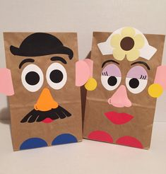 Items similar to TOY STORY Mr Potato Head Mrs Potato Head inspired birthday party/treat bags on Etsy Mr Potato Head Mrs Potato Head birthday party/treat bags Toy Story Theme, Toy Story Birthday, Toy Story Party, Disney Crafts For Kids, Toddler Crafts, Art For Kids, Cumple Toy Story, Festa Toy Story, Paper Bag Crafts