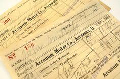 "Vintage ""Arcanum Motor Co."" Receipt (c.1923)"