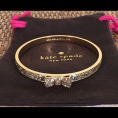 ✨KATE SPADE GLITTER BOW BRACELET✨ Worn once.  I bought this from another wonderful posher but I just do not wear it.  There are no signs of wear.  Comes with the original dust bag.  TRADESLOWBALL kate spade Jewelry Bracelets