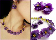 Polymer clay flowers necklase Violet jewelry set with viola flowers #morecolorsEtsy #AntoninaLobchuk