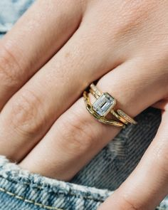 Our Poppy setting is paired perfectly with an emerald cut diamond. Build your dream ring on our website!
