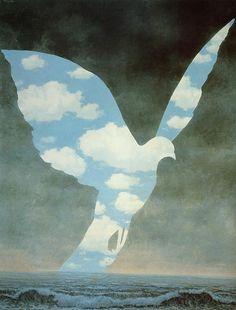 Tableaux sur toile, reproduction de Magritte, The Big Family, 100x81cm