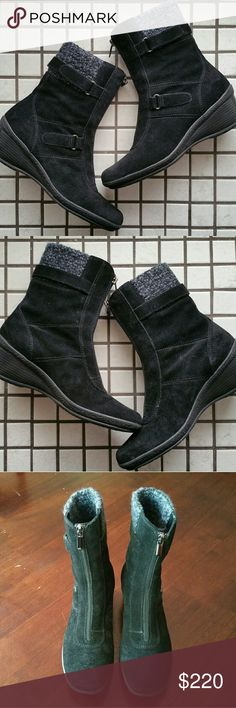 NWOT Aquatalia Weatherproof Sweater Cuff Booties Brand new, I just dont have the original box that they came in. Retailed for $495 at Bergdorf. Suede front zipper ankle boot on a crepe platform wedge. Features a warm sweater cuff that'll keep your feet toasty in the cold! The only weatherproof shoe you'll need this fall and winter! Aquatalia Shoes Ankle Boots & Booties