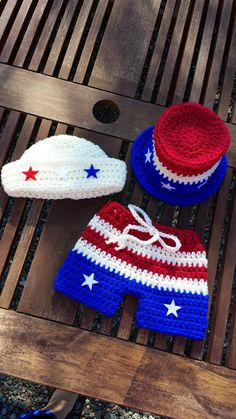 Patriotic outfit- of July-Holiday Matching Sailor hat and Shorts or Top hat and Shorts- Crochet Knit shorts and Hat Sets, Baby boy Baby Boy Crochet Blanket, Crochet Baby Shoes, Crochet For Boys, Booties Crochet, Newborn Crochet, Baby Boy Shoes, Baby Boy Outfits, Diaper Cover Pattern, Crochet Cocoon